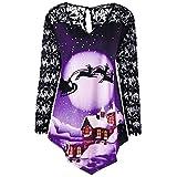 Gocheaper Women Merry Christmas Lace Printed Blouse Plus Size Patchwork Asymmetrical T-Shirt Tops(Purple,XXXXL)