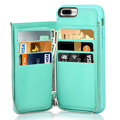 LAMEEKU iPhone 7 Plus Wallet Case, iPhone 8 Plus Leather Wallet Case, Shockproof iPhone 7 Plus Credit Card Holder Case with Zipper Wallet, Protective Cover for Apple iPhone 7 Plus/8 Plus - Mint Green