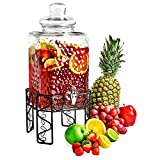 glass beverage dispenser on stand - Glass Beverage Dispenser with Spigot, Steel Stand and Lid - For Iced Tea and Infused Water - Hammered Design, Floral Base - 2.25 Gallon - by Lux 'n Lavish