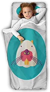 Colorful Daycare Sleeping Bag Beaver Portrait with Small Eyes and Giant Teeth Cartoon Style Animal Illustration for Daycare and Preschool Multicolor 50X20 INCH