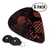 LXXTK Unique Tartan Skulls and Watercolor Effect Celluloid Guitar Pick 6 Pack - Music Gifts for Bass, Electric & Acoustic Guitars