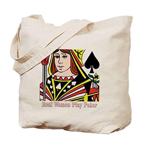 Cafepress – Real Women Play Poker – Borsa di tela naturale, tessuto in iuta