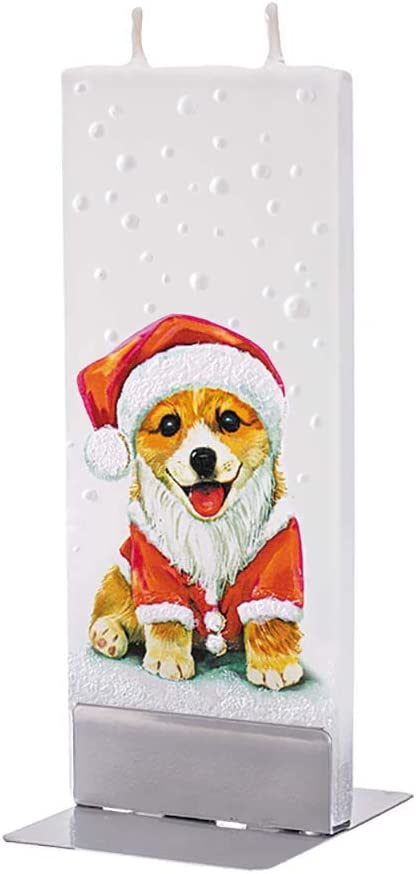 Flatyz Santa Dog Candle - Flat, Hand Painted Christmas Candles for Gifts or Holiday Decor - 6 inches