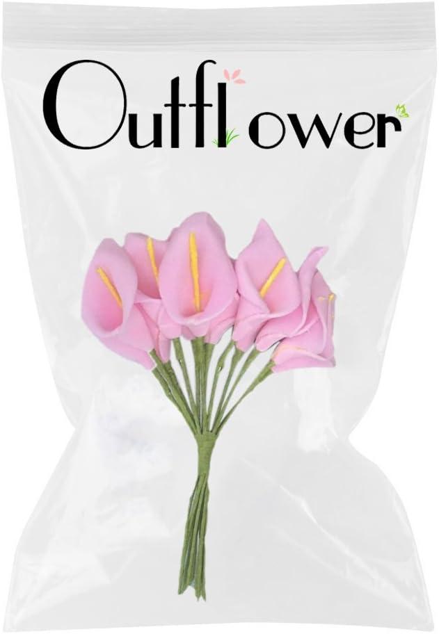 Outflower 144/pcs faite /à la main Mini Motif lys Calla artificiel Bouquet de mariage de mariage D/écor fleur 2*10cm Rouge rose