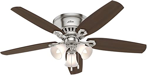 Hunter Fan Company 53328 Hunter Builder Indoor Low Profile Ceiling Fan with LED Light and Pull Chain Control, Brushed Nickel