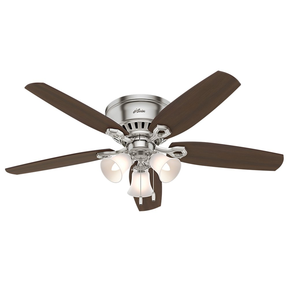 Hunter 53328 52'' Builder Low Profile Ceiling Fan with Light, Brushed Nickel