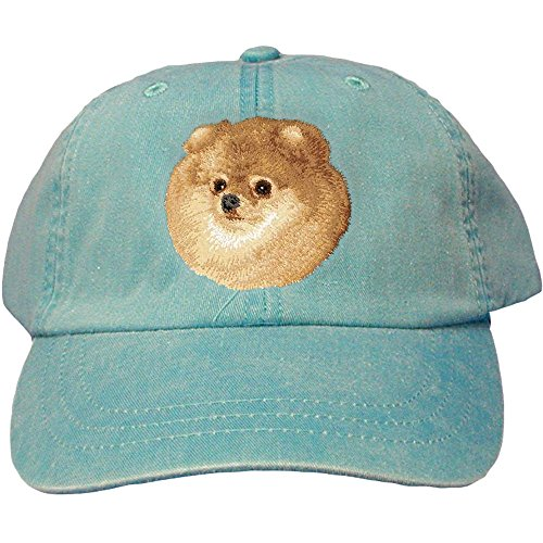 - Cherrybrook Dog Breed Embroidered Adams Cotton Twill Caps - Caribbean Blue - Pomeranian