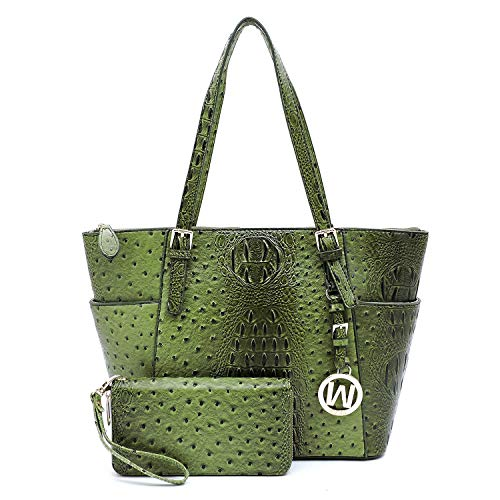 Vegan Faux Leather 2 PC Set Ostrich Croco Embossed Tote Shoulder Bag shopper with Matching Wallet (Olive)