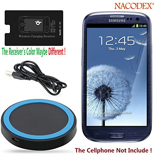 Wireless Charger , Nacodex® Qi Wireless Charging Charger Pad with Qi Wireless Charger Charging Receiver Kit for Samsung Galaxy S3 I9300 , [Hot-red Best Seller] Wireless Charger Charging Pad + Receiver Kit [2in1] ([Charge-pad + Receiver] for Samsung S3)