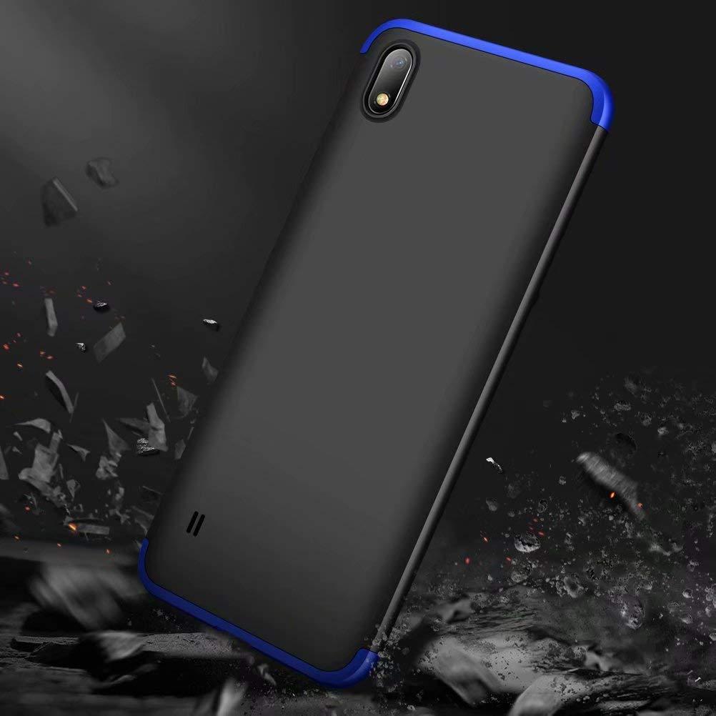 Regalo Pel/ícula de Vidrio Templado-Negro+Azul LsYun Funda A10 Compatible para Samsung Galaxy A10 360 Grados Protecci/ón Caso Bumper Antideslizante A Prueba de Golpes