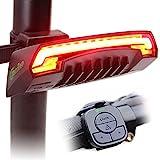 Meilan bicicleta luz trasera inteligente X5 USB recargable control remoto inalámbrico los láseres intermitentes para bicicleta Moutain, para bicicleta BMX, bicicleta para carretera y bicicleta híbrida 85 lúmenes