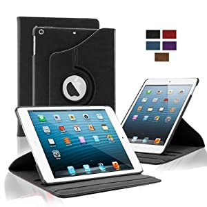 KHOMO Apple iPad Air Case - Black 360 Degree Rotating Stand Case Cover With Built-in magnet for sleep / wake feature For iPad Air Tablet by KHOMO