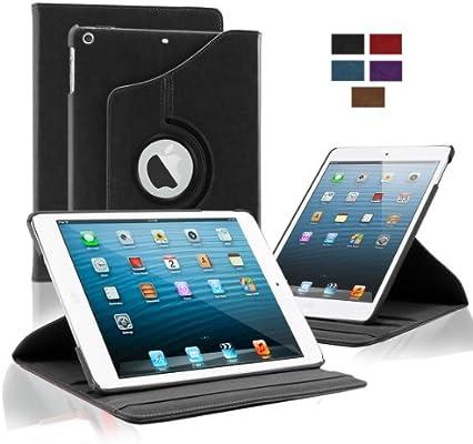 KHOMO Funda 360 para Tablet iPad 9.7 2018-2017 - Air 1 - Carcasa Negra de Poli Piel con Soporte Horizontal y Vertical Apple iPad 9,7 - Negro
