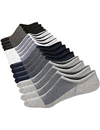 Mens No Show Low Cut Casual Pure Color Mesh Knit Non-Slide Socks(8Pack)