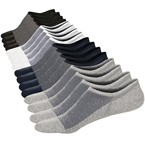 M&Z Mens Ankle Low Cut Socks Super Comfy Cotton Casual Non-Slip Socks(8 Pack) by Mottee&Zconia
