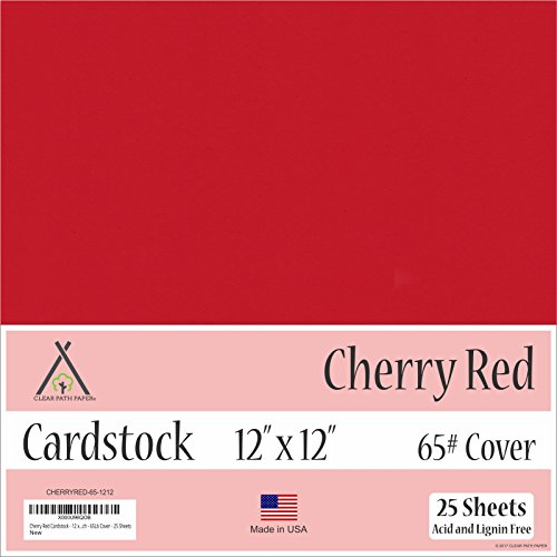 Cherry Red Cardstock - 12 x 12 inch - 65Lb Cover - 25 Sheets by Clear Path Paper