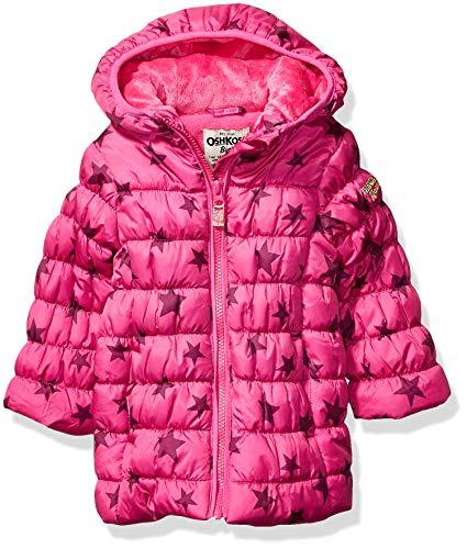 Osh Kosh Girls' Little Perfect Colorblocked Heavyweight Jacket Coat, Wild Mulberry Magenta, 5/6