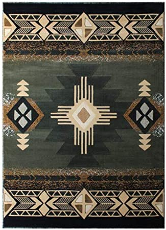 South West Native American Area Rug Design C318 Sage Green 5 Feet X 7 Feet