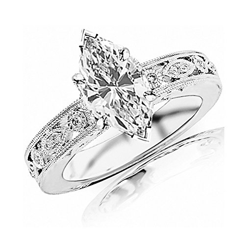 0.88 Cttw 14K White Gold Marquise Cut Antique / Vintage Bezel Set Designer Diamond Engagement Ring With Milgrain with a 0.7 Carat H-I Color SI2-I1 Clarity Center