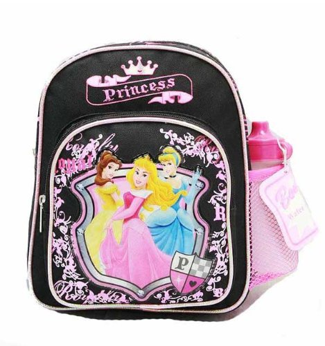 Mini Backpack - Disney - Princess - with Water Bottle - Black - 3 Princess