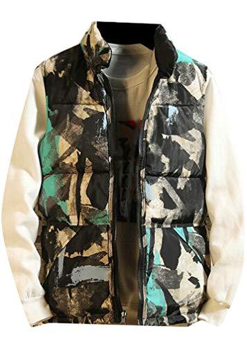 (Cromoncent Men's Loose Stand Collar Cargo Zip Reversible Jacket Down Vest Green XX-L)