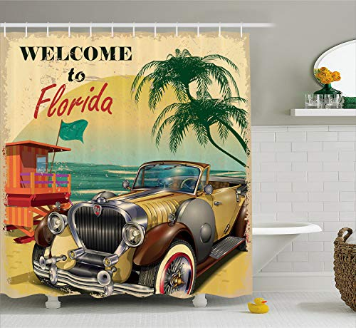 - Ambesonne Florida Shower Curtain, Old Beach Picture with Vintage American Car a Visit to Touristic Coastal State, Cloth Fabric Bathroom Decor Set with Hooks, 84