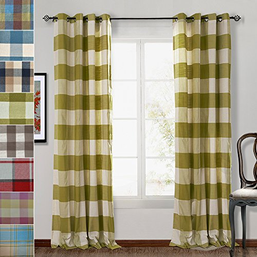 Eyelet Colonial (ChadMade Eco-friendly Premium Country Classic Check Plaid Cotton Nickel Grommet Eyelet Window Curtain Panel Drapes ( 1 Panel ) Green 84Wx84L Inch)