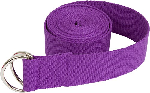 Trademark Innovations Durable Cotton Yoga Strap with Metal D Ring, 8', Purple