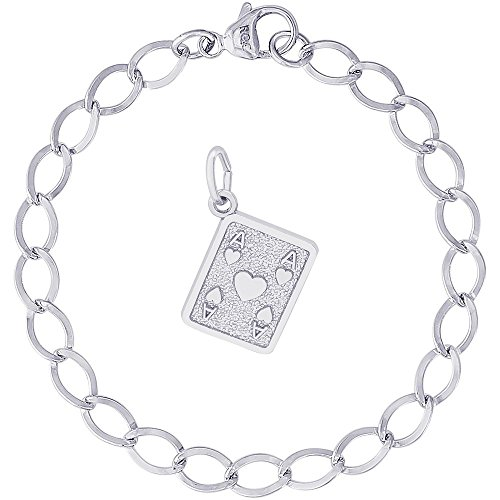 Rembrandt Charms Sterling Silver Card Charm on a Dapped Curb Bracelet, 8
