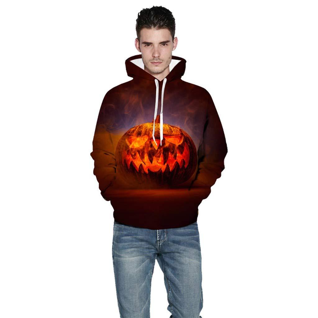 charmsamx Mens Womens Hoodies Sweatshirt 3D Halloween Printed Sweatshirt Long Sleeve Pullover Drawstring Jumper Tops Halloween Funny Pumpkin Skeleton Casual Pullover for Couple by charmsamx