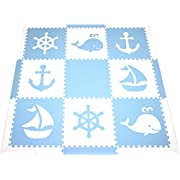 SoftTiles Foam Children's Playmat- Nautical Ocean Theme- Interlocking Large 2 Foot Tiles for Baby Nursery/Kids Playrooms 78  x 78  (Light Blue, White) SCNAUWS