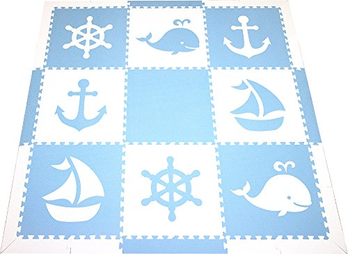 SoftTiles Foam Children's Playmat- Nautical Ocean Theme- Interlocking Large 2 Foot Tiles for Baby Nursery/Kids Playrooms 78'' x 78'' (Light Blue, White) SCNAUWS by SoftTiles