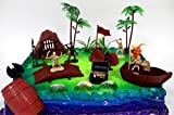 ": Ahoy, Matey PIRATES 15 Piece Cake Topper Set Featuring 5 Random Figures, Boat, Cannon, Themed Decorative Accessories, Figures Average 2"" Tall"