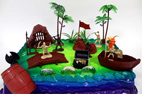 Ahoy, Matey PIRATES 15 Piece Cake Topper Set Featuring 5 Random Figures, Boat, Cannon, Themed Decorative Accessories, Figures Average 2