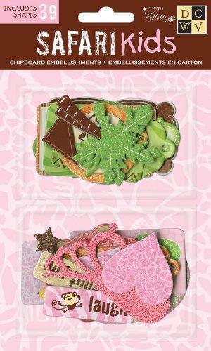 DCWV CP-012-00048 Chipboard Shapes Girl Safari Kids