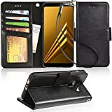 Galaxy a8 2018 Case, Samsung Galaxy a8 2018 Holster Arae [Wrist Strap] Flip Folio [Kickstand Feature] PU Leather Wallet case [4 Slots] ID&Credit Cards Pockets Galaxy a8 2018 Wallet Case