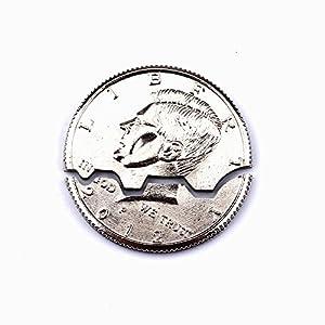 Bite Coin Half Dollar Magic Tricks Folding Coin Magic Street Props –with 10pcs Rubber Bands