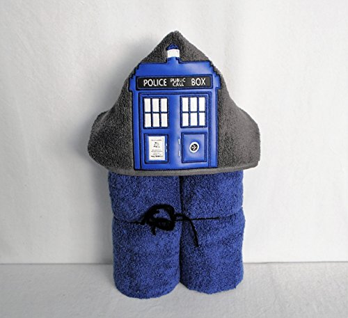 Blue Police Call Box Hooded Bath Towel - Baby, Child, (Blue Call)