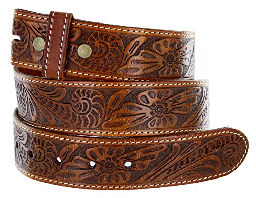 Tan Tooled - Western Floral Engraved Tooled Tan Leather Belt Strap (38, Tan)