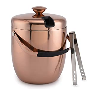 3 Litre Ice Bucket Insulated Stainless Steel Double Wall with Lid and Ice Tongs,Copper