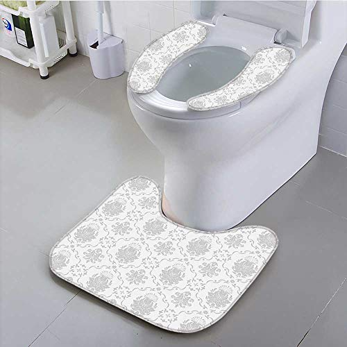 Bathroom Non-Slip Rug Set Classic Victorian Floral Patterns Tulips Nostalgic Romantic Modern in Vintage Style Bohemian Home Personalized Durable