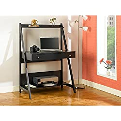 Bush Furniture Alamosa Ladder Desk in Classic Black