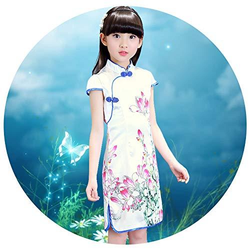 Elegant Qipao Girls Dress Cheongsam Children Clothing Vintage Flower Kids Clothes Baby Girl Summer Dresses Teenager,Style Four,11