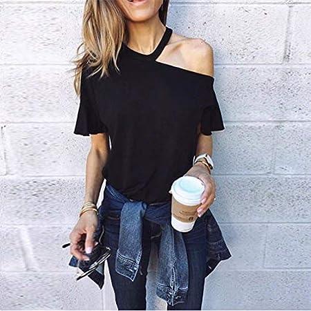 ljradj banxiu Camiseta para Mujer de Europa y América, Color sólido, Manga Corta, Cuello Alto, sin Tirantes, Camisa Negra XL.: Amazon.es: Hogar