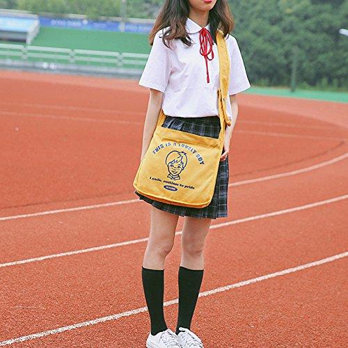 diseño blanco Lona Girl de Bandera Bolso Blanco de de Japón BISSER para Mujer xqUYUanr