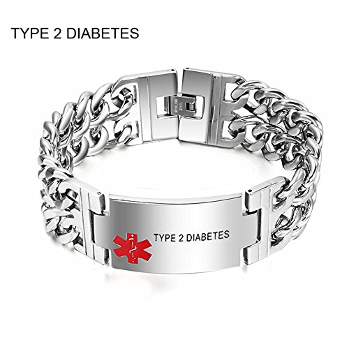 Comfybuy Men's Stainless Steel 2 Tone Medical Alert TYPE 2 DIABETES Sos Identification ID Bracelet,21.5cm