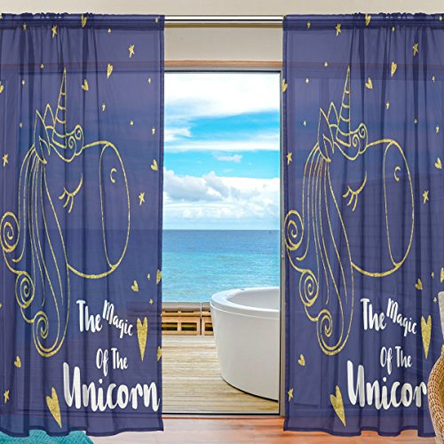 SEULIFE Window Sheer Curtain, Cute Animal Unicorn Love Star Voile Curtain Drapes for Door Kitchen Living Room Bedroom 55x78 inches 2 Panels by SEULIFE