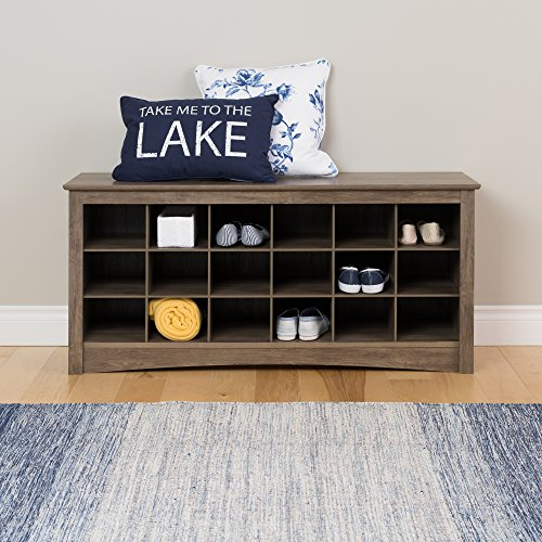 Prepac 18 Cubby Shoe Storage Bench in Drifted Gray