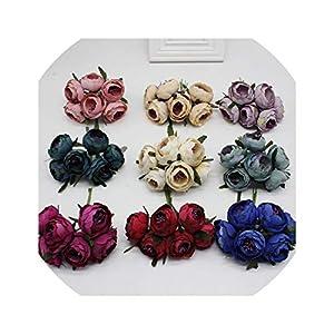 6pcs/Lot Artificial Rose Silk Flower Peony Flowers Wedding Bouquet Wedding Bridal Decor Rose Flowers for DIY Scrapbooking 68