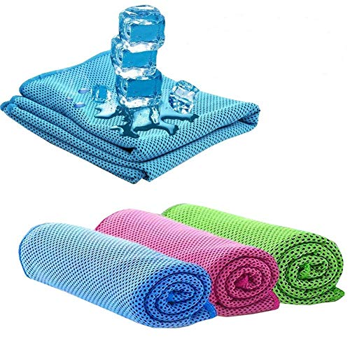 LIJIAO Cooling Towel(3pack) 41x13 Inches Instant Cooling Relief Towel Keep Chills Ice Towels Stays Cooling for Gym Sports Fitness Yoga Workouts Camping&More Activities